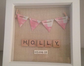 Girls personalised pink gingham bunting box frame for new arrival/baptism/Christening gift