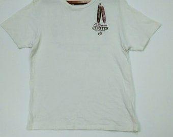 Hang Ten California Original Brand  Cream White  T-shirt Vintage Large