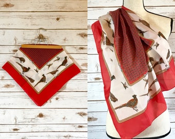Vintage Italian Scarf, Vintage Italian Pheasant Scarf, Vintage Norma Dori Italian Polyester Pheasant Scarf