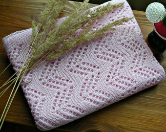 Crib blanket size Baby Blanket Softly baby blanket blush color Receiving blanket Newborn gift Knit baby blanket girl Wool baby blanket