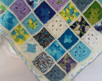 Blue and green granny square baby afghan