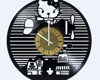 Hello Kitty Vinyl Clock Home Bedroom Living Kids Room Nursery Wall Decor  Gifts Idea For Birthday