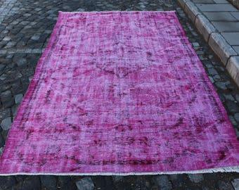 Pinkish color Overdyed Rug Free Shipping 5.5 x 8.7 ft. oushak rug, turkish rug, nomadic rug, tribal rug, ethnic rug, bohemian rug, MB319