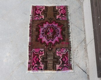 Small size brown and pink turkish rug, 1.5 x 2.6 ft. Free Shipping decorative rug, bohemian rug, handknotted rug, oushak rug, MB495
