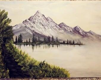 A mountain lake in fog