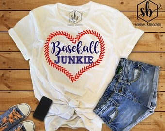 Baseball Junkie | Baseball Shirt | Baseball Mamas | Baseball Babes | Tball | little league | Moms shirts | Customize | Sidelines & Bleachers