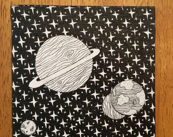 Space Planet Pen and Ink