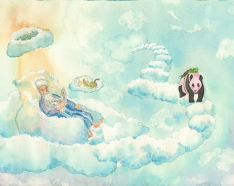 "Postcard Cloud Man ""on the Way"""