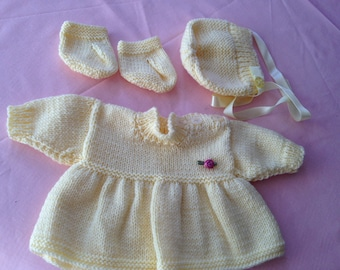 Dress, bonnet and bootees for premmature baby or new born doll.