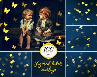 100 Figured bokeh overlays, gold bokeh, lights overlay, photoshop overlay, digital download, holiday, christmas bokeh, texture, flashlights