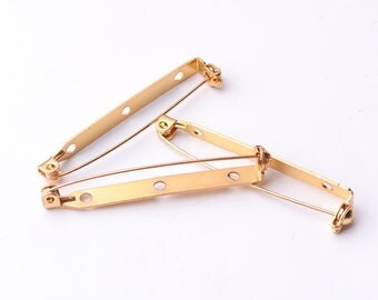 20pcs Gold safety pins 46mm*5mm Brooch safety pins Bar Pins Brooch Pin Backs Setting Blank With Roll Safety Clasp
