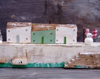 Driftwood,Cottage, House,Christmas.Harbour Scene.Cottages.Handmade painted.Detailed.FLOTSAM SOUP STUDIO