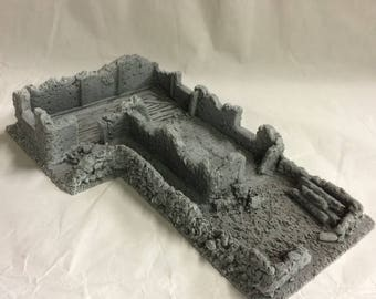 28mm Large Derelict Building - Old Country (Resin Scenery) *unpainted*