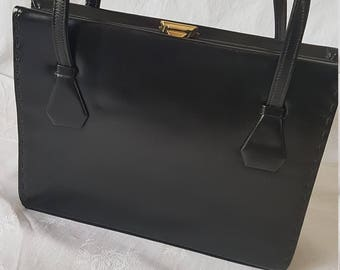 WALDYBAG 1950s Black Leather Kelly Handbag Brass Clasp Suede Lining Made in England