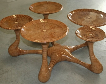 "Coffee table ""Water lily"" single piece Handmade"
