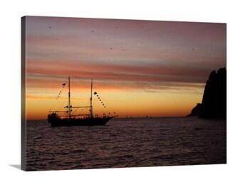 Pirate Ship Sunset (20x14 Canvas)