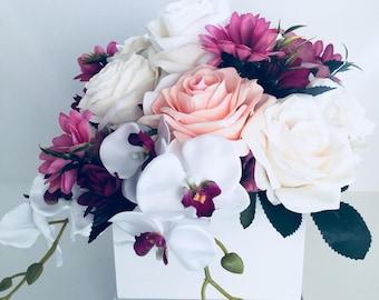 Fantasy Bouquet artificial floral arrangement design gifts in a hat box