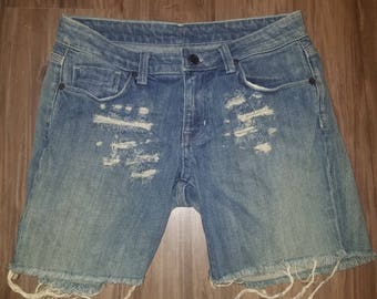 Distressed Torn Ripped Frayed Jeans One Of A Kind Blue Aristocrat Premium Luxury Demin Shorts size 27