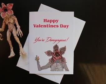 Stranger Things Demogorgon Valentines card, funny, pun, demogorgeous