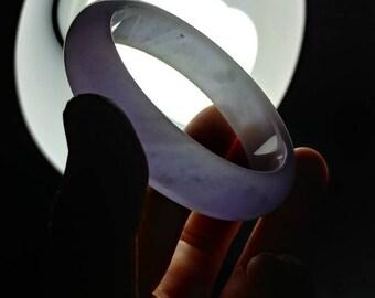 Lavender Jadeite jade bangle bracelet. Grade A. Icy type.