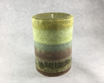 antique look soy and palm pillar candle