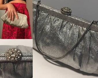 Vintage Silver Evening Clutch Handbag
