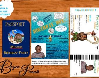 Moana boarding pass and passport