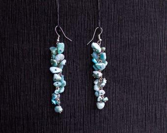 Earrings with Larimar