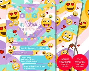 Emoji Invitation, Emoji Birthday Invitation, Emojis Birthday Party Invitation, Emoji Invite, Digital File