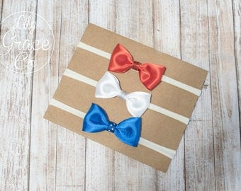 Set of 3 Patriotic Red, White and Blue Baby Headbands