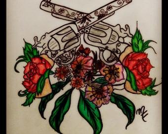 Dualing Six-Shooters (Tattoo Art)