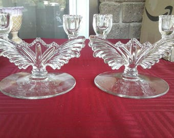 Vintage 1940s Pair Tiffin Charleston Winged Double Candle Holders Clear Glass