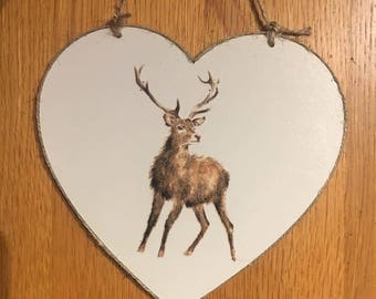 Large hanging heart with stag