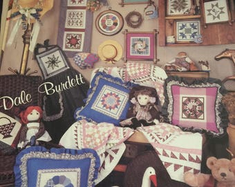 Cross Stitch (1984) Country Patchwork by Dale Burdett bear, house,sheep, goose and more