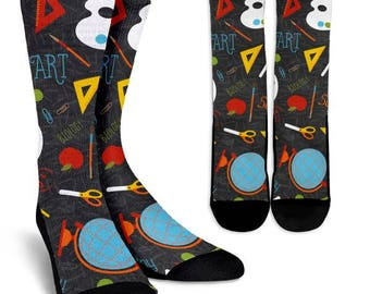 Back to School Socks 11, Custom Printed Socks, Novelty Socks, Cute Socks