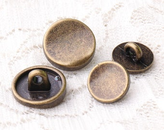 metal buttons sunken buttons 10pcs 12*6/9*5mm bronze buttons round shank buttons sewing coat buttons
