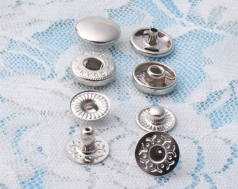 20sets 12mm Snap Buttons silver snap buttons iron snap buttons round snap fastener press stud for clothes findings