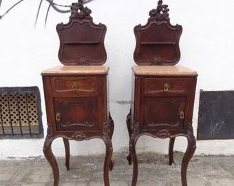 Couple of 2 Very Old ( Final 1800 ) and important walness wooden mesites, COMPLETE and GOOD CONDITION