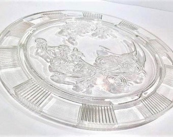 Sharon Cabbage Rose Clear Crystal Glass Cake Plate, Vintage Federal Glass Footed Cake Plate, Sharon Cabbage Rose Pattern 3-Footed Cake Plate