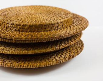vintage rattan chargers // set of 4 chargers