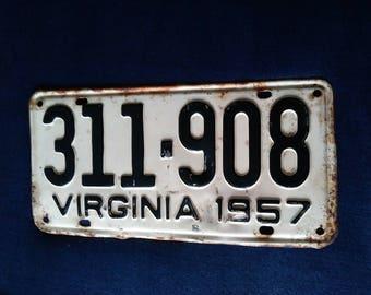 1957 Vintage Virginia License Plate