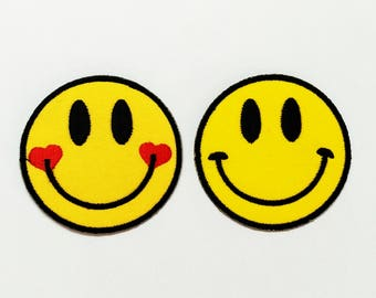 Face smiley feelings patch happy yellow face love Iron On Embroidered Applique DIY