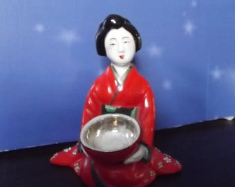 Mandarin Geisha Girl with Bowl Nippon ~ Made in Japan-Hand Painted