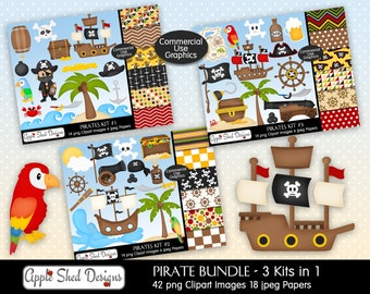 PIRATES BUNDLE Digital Clipart & Papers, 42 Clipart and 18 Digital Papers, ship boat, canon ball, treasure map, parrot, island, sword, skull