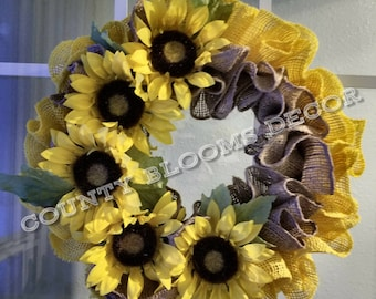 Sunflower Burlap Wreath - Welcome Front Door-Summer Wreath- Yellow Decor- Gift for her-Gift for mom-Farmhouse Decor