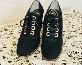 50's Vintage Black Suede Oxford Shoes