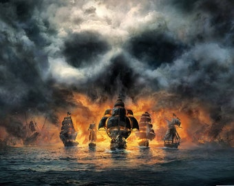 SHIPS FLEET SKULL In The Sky Fire Battle At Sea Stunning Colourful Wall Art Canvas Picture Print Various Sizes
