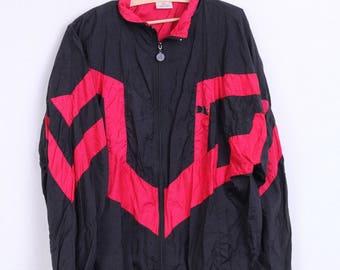 DBL Mens XL Track Top Jacket Nylon Black Waterproof Vintage