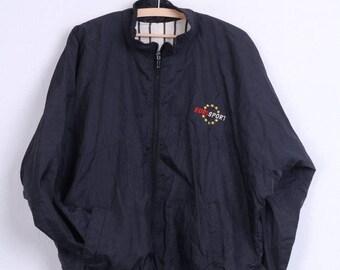 Euro Sport Mens M Bomber Jacket Black Vintage
