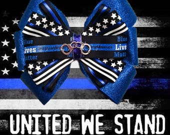 Blue Lives Matter Handcuff Sparkle Back the Blue Police Hair Bow